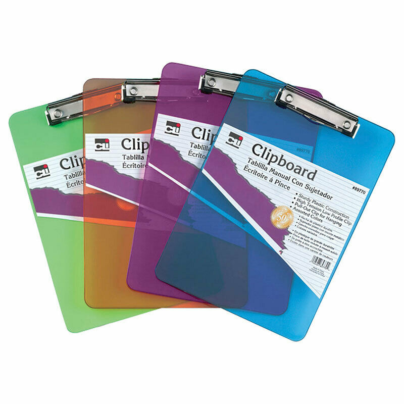 Transparent Plastic Clipboard, Low Profile Clip and Pull Out Hook, Letter Size,