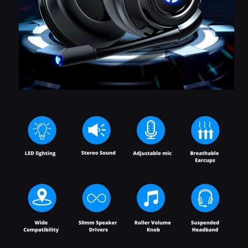 HP Wired Stereo Headset with mic Gaming Over ear Headset W LED H200 Headphone 4