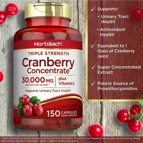150ct Cranberry Capsules Pills 30,000mg Supplement+Vitamin C,Concentrate Extract 2