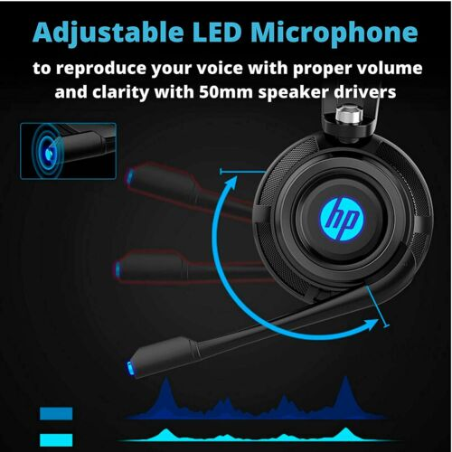 HP Wired Stereo Headset with mic Gaming Over ear Headset W LED H200 Headphone 2