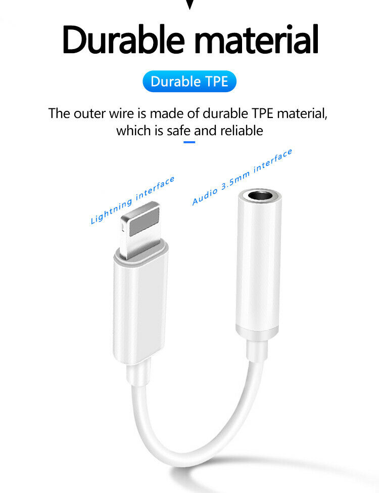 For iPhone 7 8 X XS 11 12 Headset Headphone Adapter 8 Pin to 3.5mm Cable Dongle 6