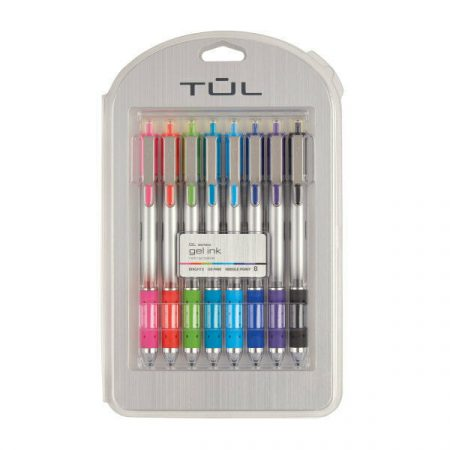 TUL Retractable Gel Pens, Needle Point, 0.5 mm, Bright Ink, 8-Pack