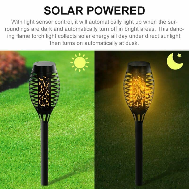 8PCS Solar Torch Flame Dancing Light LED Flickering Flame Lamp Outdoor Garden US 7
