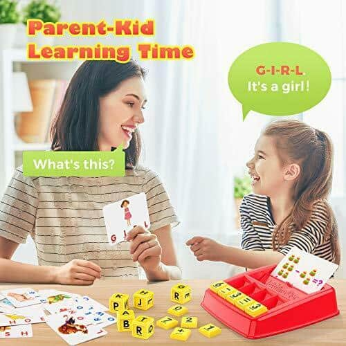 Educational Toys for 3 4 5 6 7 8 Year Old Kids, Matching Letter and Math Red 3