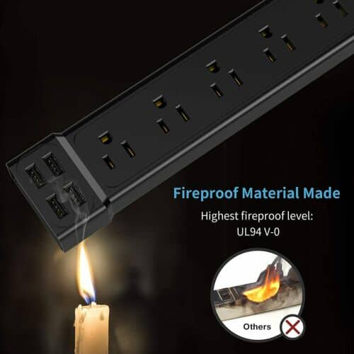 Wall Mountable USB Surge Protector Power Strip with USB Ports 6 Outlet Plugs 2