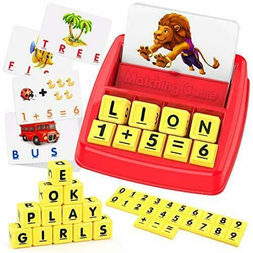 Educational Toys for 3 4 5 6 7 8 Year Old Kids, Matching Letter and Math Red