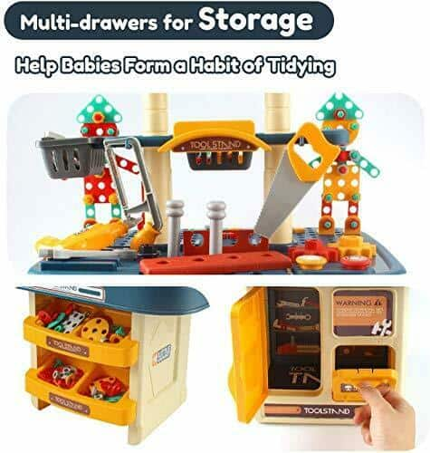 246 PCs Kids Toddlers Toy Tool Bench Set for 3 4 Year Old Boys and Girls, 2  6
