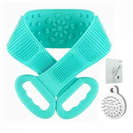 Silicone Back Scrubber for Shower,31.5 inches Silicone Bath Body Brush (green)