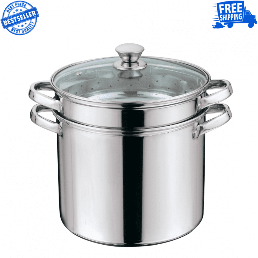 Multi-Cooker with Lid 8 Quart Steam Pot Stainless Steel Steamer Basket, Cookware