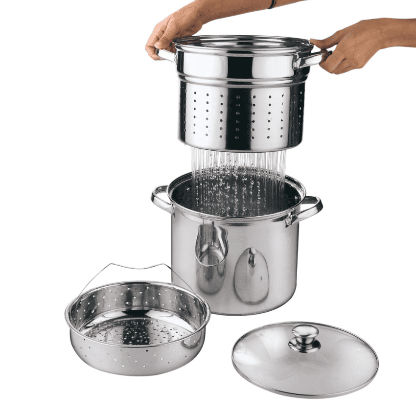 Multi-Cooker with Lid 8 Quart Steam Pot Stainless Steel Steamer Basket, Cookware 3