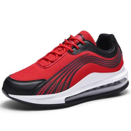Men Air Cushion Sneakers Running Athletic Sports Tennis Gym Shoes Red Black