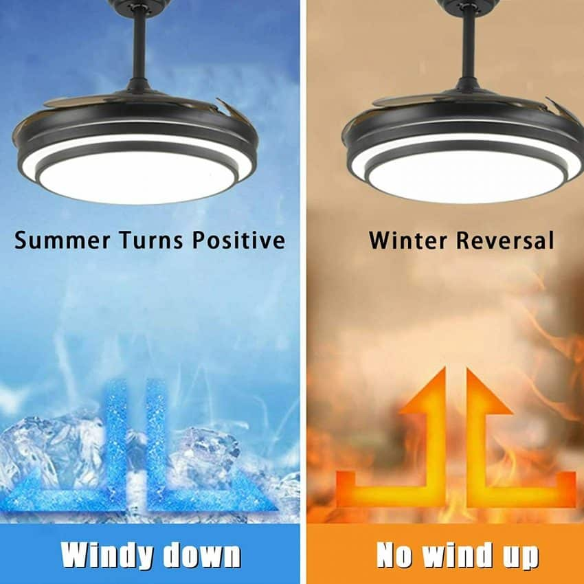 """42"""" Retractable Ceiling Fan Lamp w/ Light Remote Control Dimmable LED Chandelier 9"""
