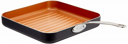 Gotham Steel 10.5'' Ultra Non-Stick Aluminum Grill Pan w Stainless Steel Handle