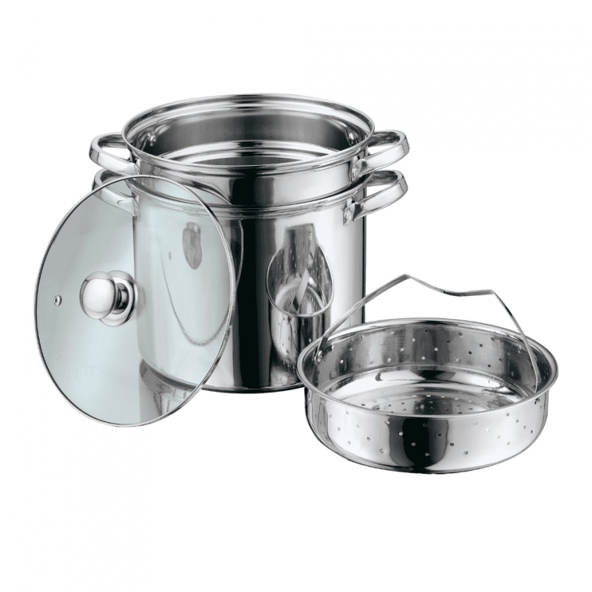 Multi-Cooker with Lid 8 Quart Steam Pot Stainless Steel Steamer Basket, Cookware 10