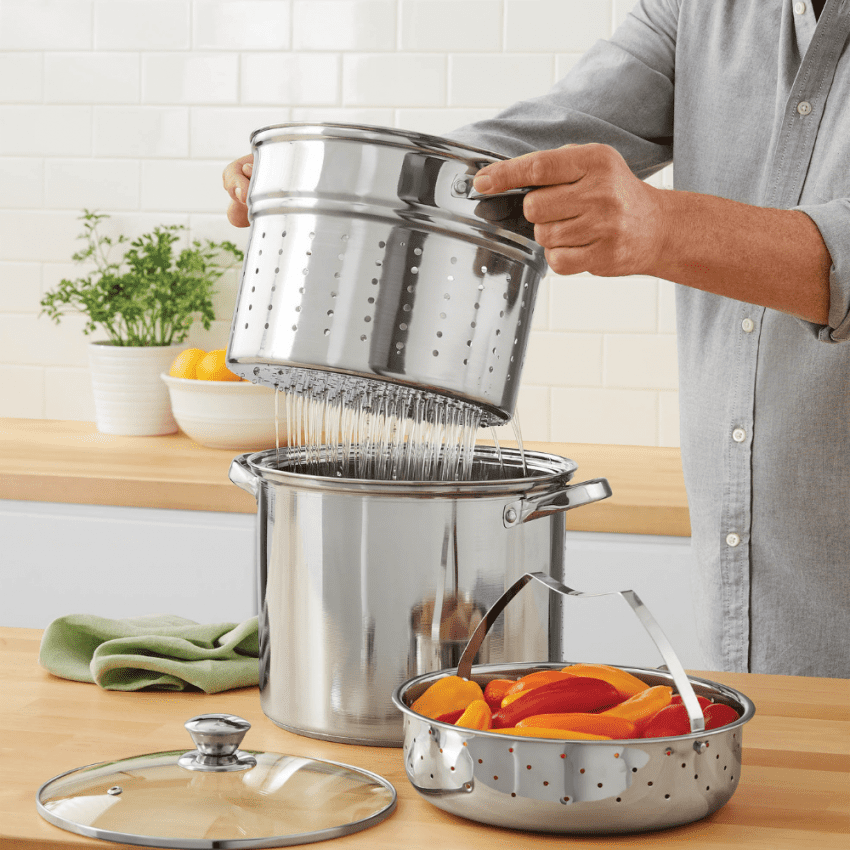 Multi-Cooker with Lid 8 Quart Steam Pot Stainless Steel Steamer Basket, Cookware 1
