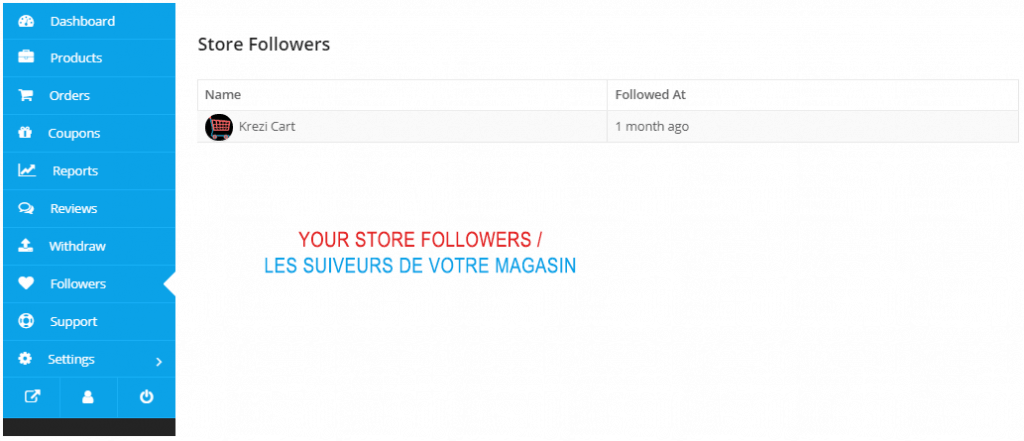 The FOLLOWERS PAGE in The Vendor dashboard 1