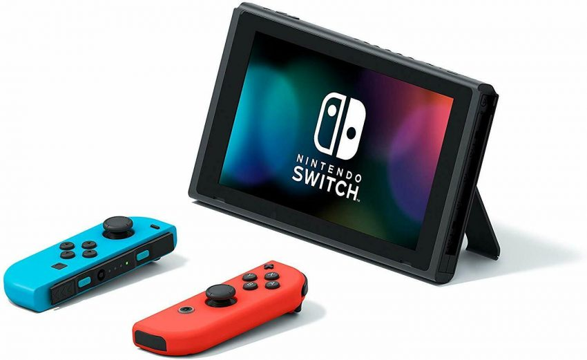 Nintendo Switch with Neon Blue and Neon Red Joy‑Con 1