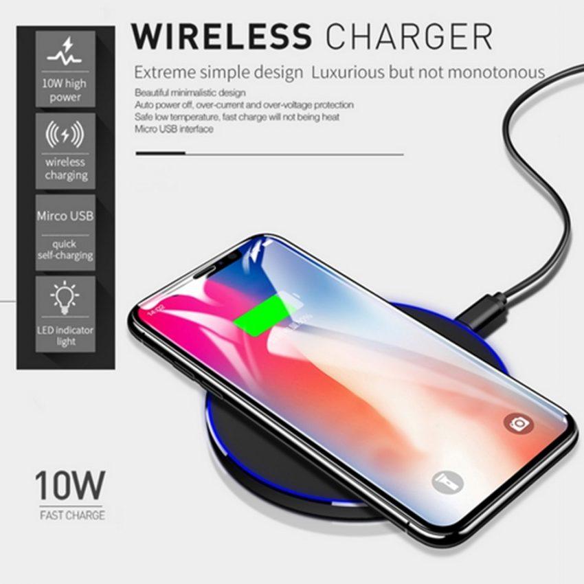 10W Wireless Charger For iPhone 11 8 X XR XS Max QC3.0 Fast Wireless Charging for Samsung S10  Note 8, 9 USB 6