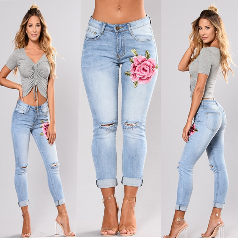 Stretch Embroidered Denim Jeans For Women 2