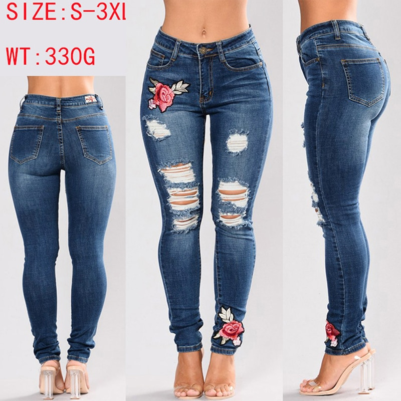 Stretch Embroidered Denim Jeans For Women 5