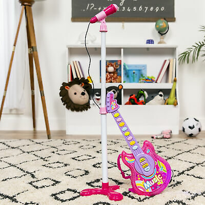 BCP 19in Kids Toddlers Musical Flash Guitar Pretend Play Toy w/ Mic, Stand 2
