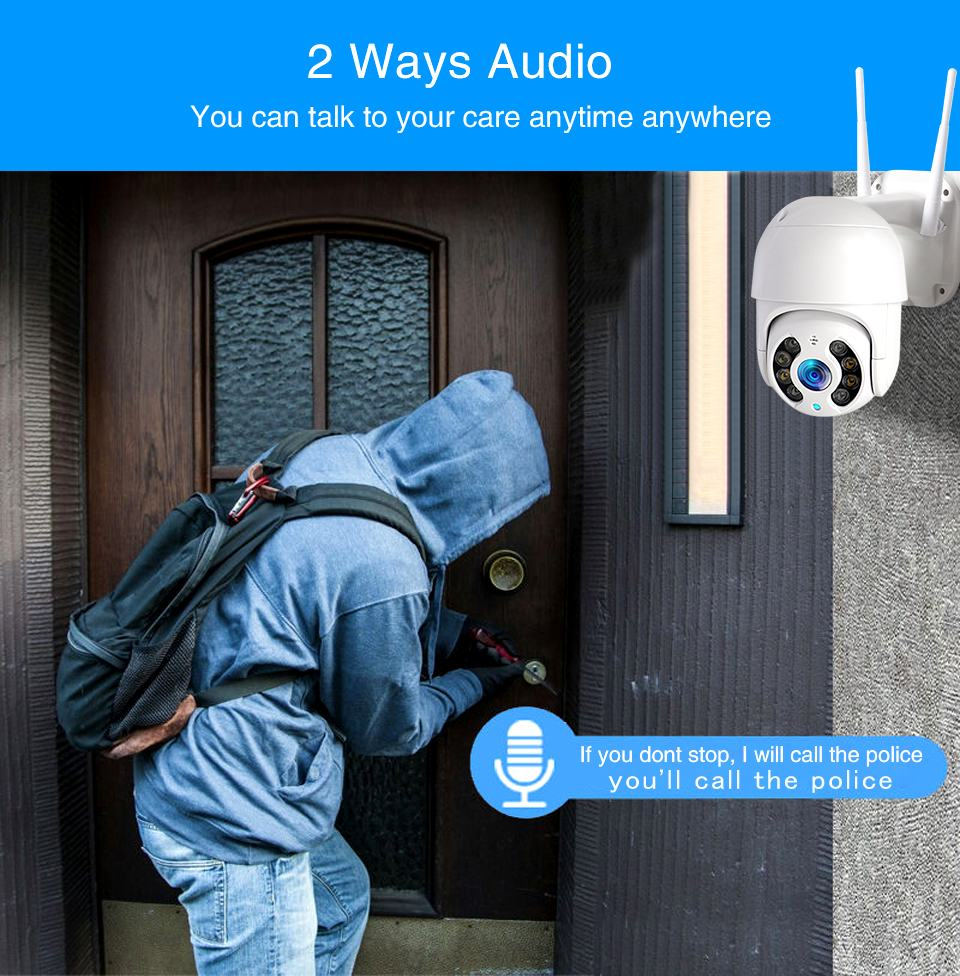 WiFi IP Camera Outdoor Night Vision Mini Speed Dome CCTV Camera 1080P Home Security 10