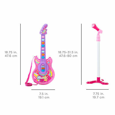 BCP 19in Kids Toddlers Musical Flash Guitar Pretend Play Toy w/ Mic, Stand 6