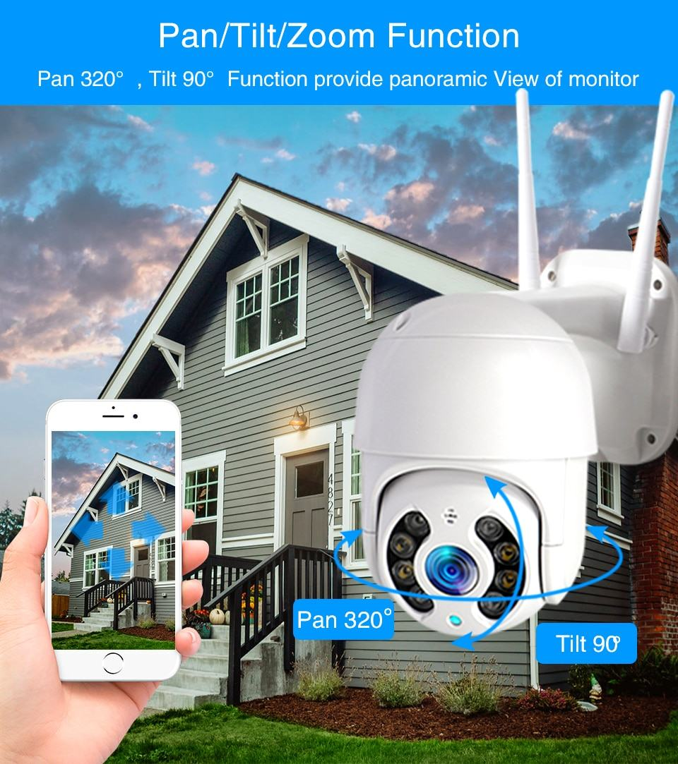 WiFi IP Camera Outdoor Night Vision Mini Speed Dome CCTV Camera 1080P Home Security 8