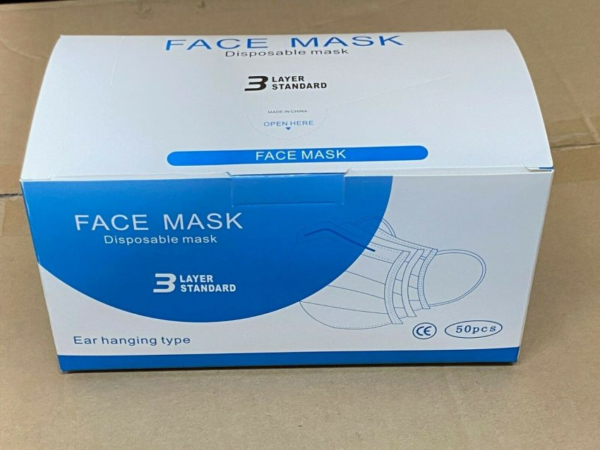 50 PCS Face Mask Medical Surgical Dental Disposable 3-Ply Ear-loop Mouth Cover 4