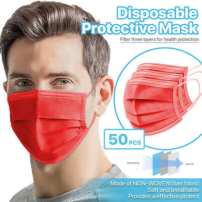 [Red] 50 Pc Disposable Face Masks 3-Ply Non Medical Surgical Earloop Mouth Cover
