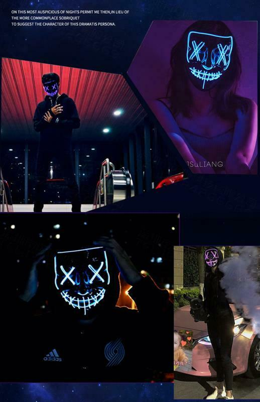 Halloween LED Glow Mask 3 Modes Light Up The Purge Movie Cosplay Costume Party 4