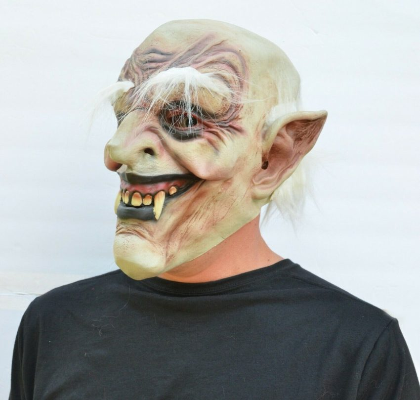 Halloween Vampire Mask Scary Latex Old Vampire Dracula Costume Mask with Hair 2