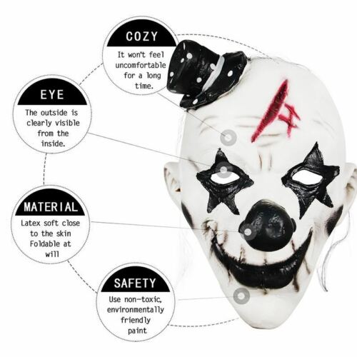 Pennywise Dancing Clown Costume Latex Rubber Horror Scary Mask Halloween Party 3