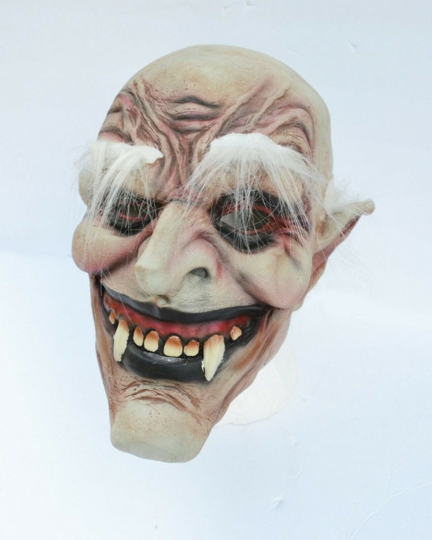 Halloween Vampire Mask Scary Latex Old Vampire Dracula Costume Mask with Hair 4