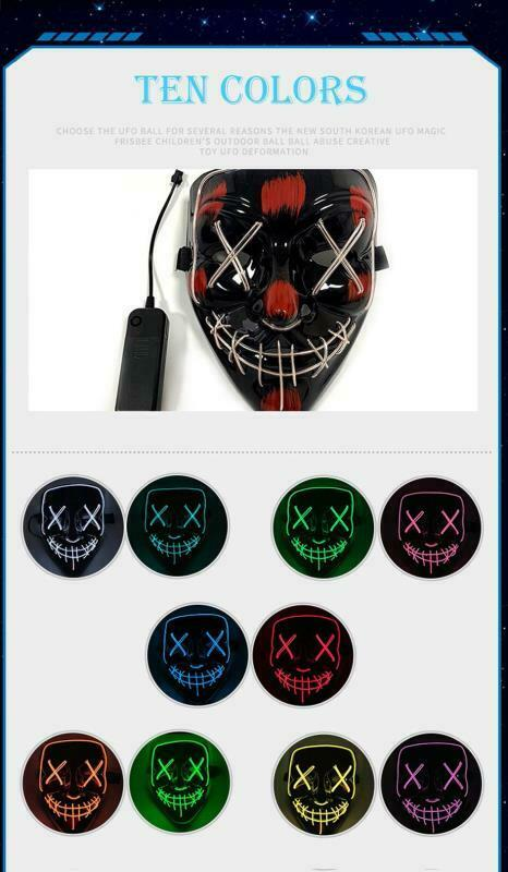 Halloween LED Glow Mask 3 Modes Light Up The Purge Movie Cosplay Costume Party 6