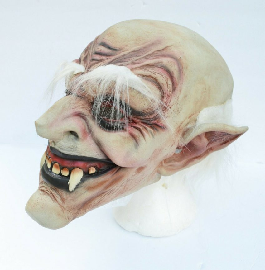 Halloween Vampire Mask Scary Latex Old Vampire Dracula Costume Mask with Hair 6