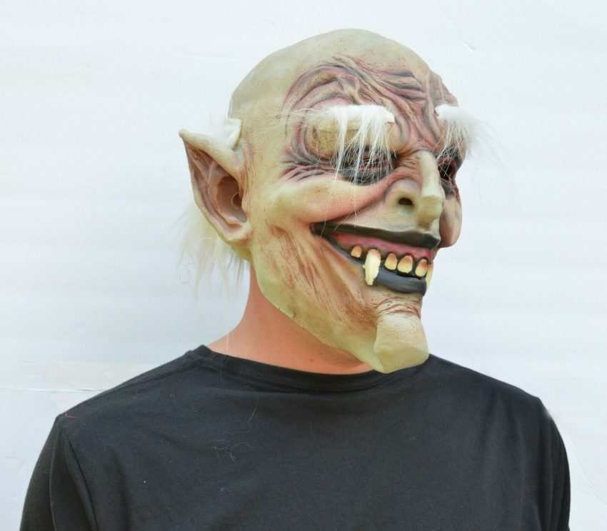 Halloween Vampire Mask Scary Latex Old Vampire Dracula Costume Mask with Hair 3