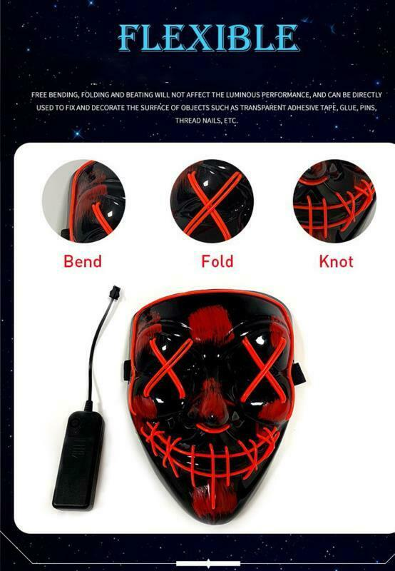 Halloween LED Glow Mask 3 Modes Light Up The Purge Movie Cosplay Costume Party 7