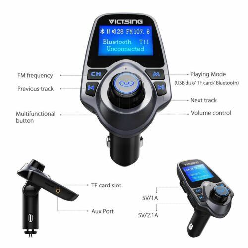 Auto Hands Free Bluetooth Wireless Car AUX Audio Receiver FM Adapter USB Charger 7