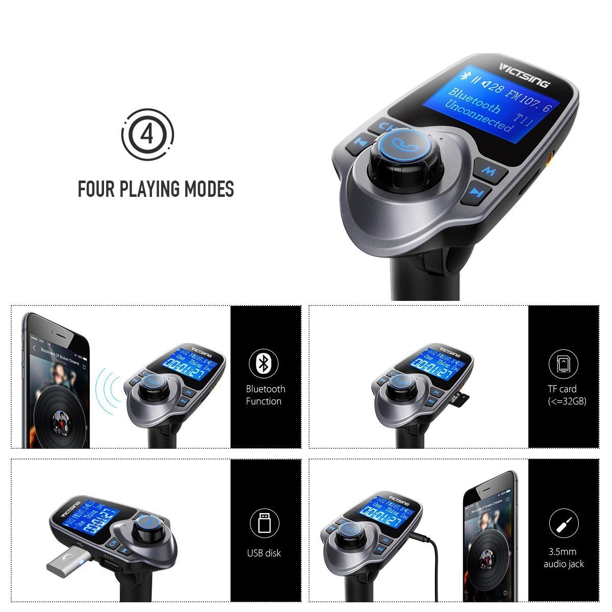 Auto Hands Free Bluetooth Wireless Car AUX Audio Receiver FM Adapter USB Charger 2