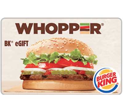 Burger King Gift Card - $25 $50 or $100 - Email delivery