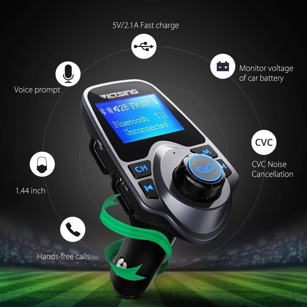Auto Hands Free Bluetooth Wireless Car AUX Audio Receiver FM Adapter USB Charger 3