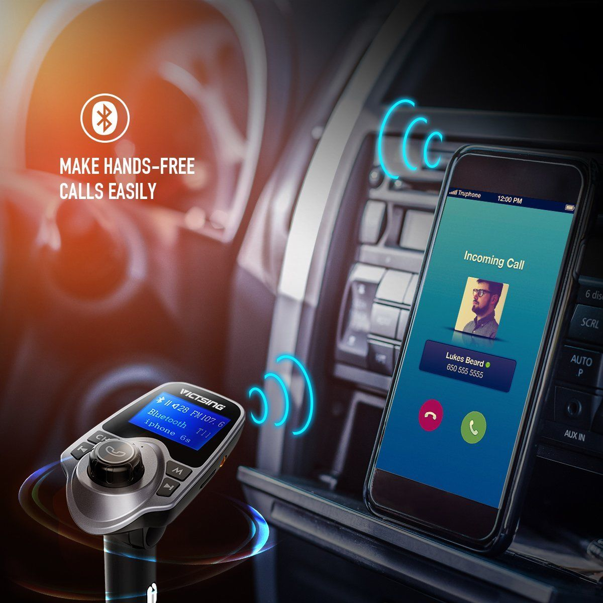 Auto Hands Free Bluetooth Wireless Car AUX Audio Receiver FM Adapter USB Charger 9