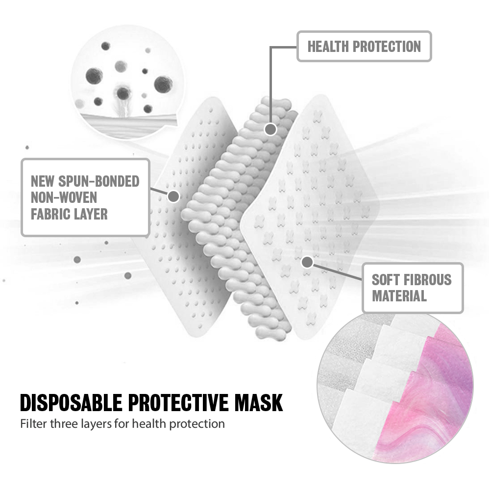 [For KID] 50 PCS Stylish Disposable Face Mask 3-Ply Non-Medical Cover - Blossom 4