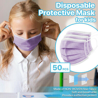 [KIDS] 50 PC Disposable Face Mask 3-Ply Non-Medical Earloop Mouth Cover - Purple