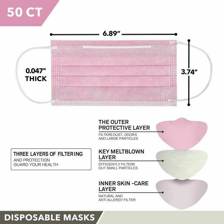 MADE IN USA 50 PCS Face Mask Surgical Disposable 3-PLY Earloop Mouth Cover 4