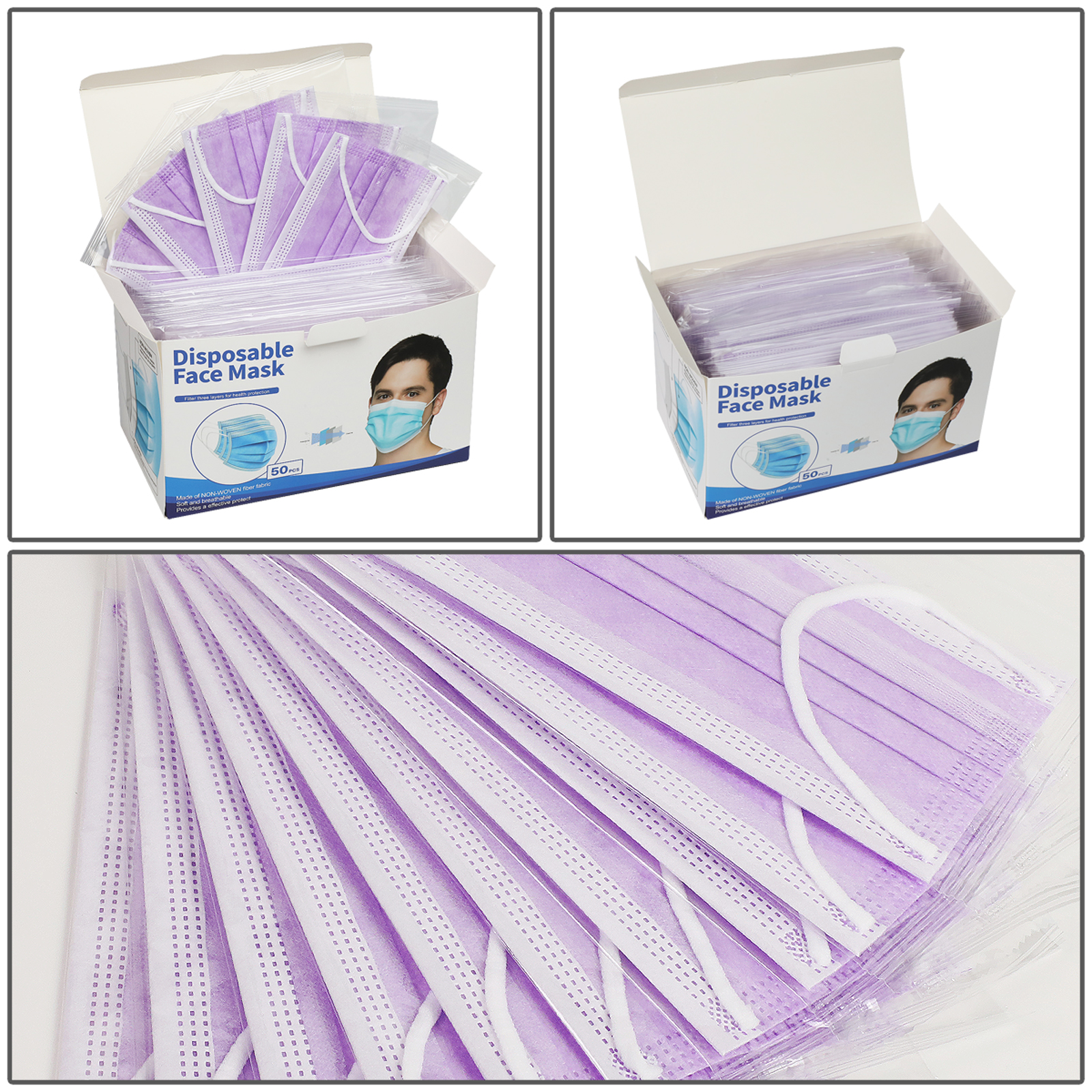 [Individually Wrapped] 50 Pc PURPLE Disposable Face Mask 3-Ply Non Medical Cover 8