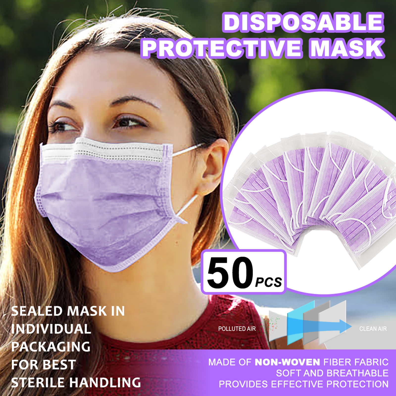 [Individually Wrapped] 50 Pc PURPLE Disposable Face Mask 3-Ply Non Medical Cover 1