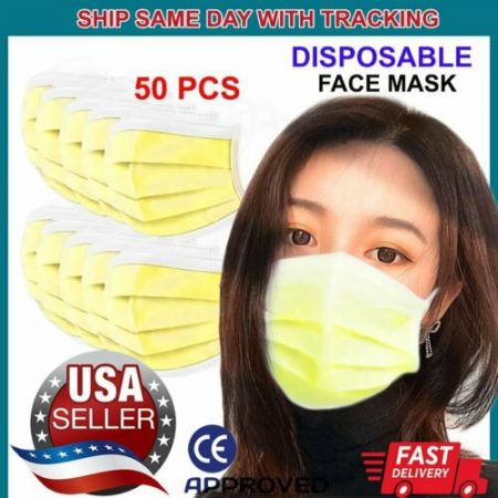 50 PCS YELLOW Face Mask Non Medical Surgical Disposable 3Ply Earloop Mouth Cover