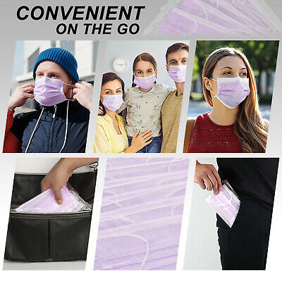 [Individually Wrapped] 50 Pc PURPLE Disposable Face Mask 3-Ply Non Medical Cover 3